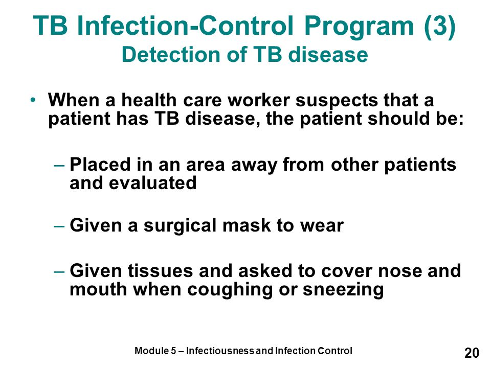 TB Infection-Control Program (3) Detection of TB disease