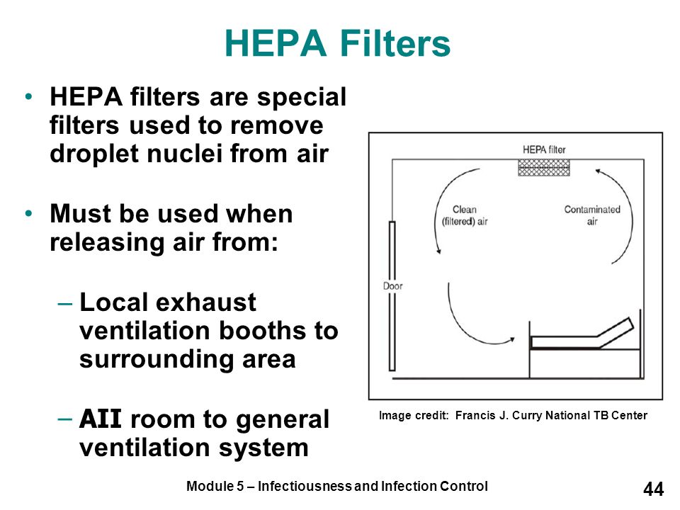 HEPA Filters HEPA filters are special filters used to remove droplet nuclei from air. Must be used when releasing air from: