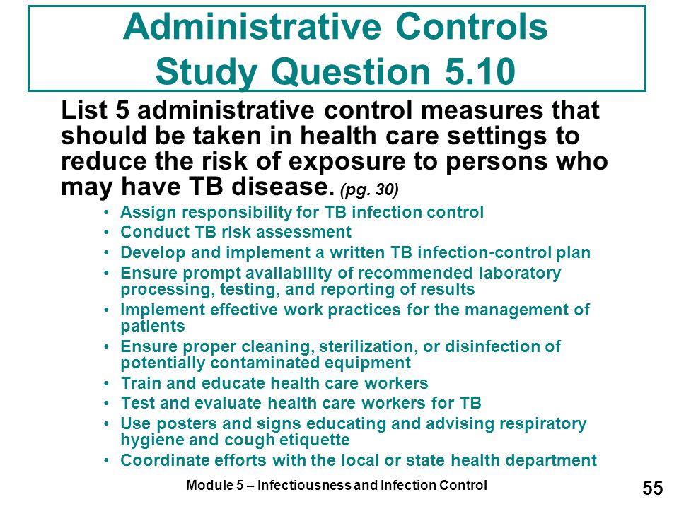 Administrative Controls Study Question 5.10
