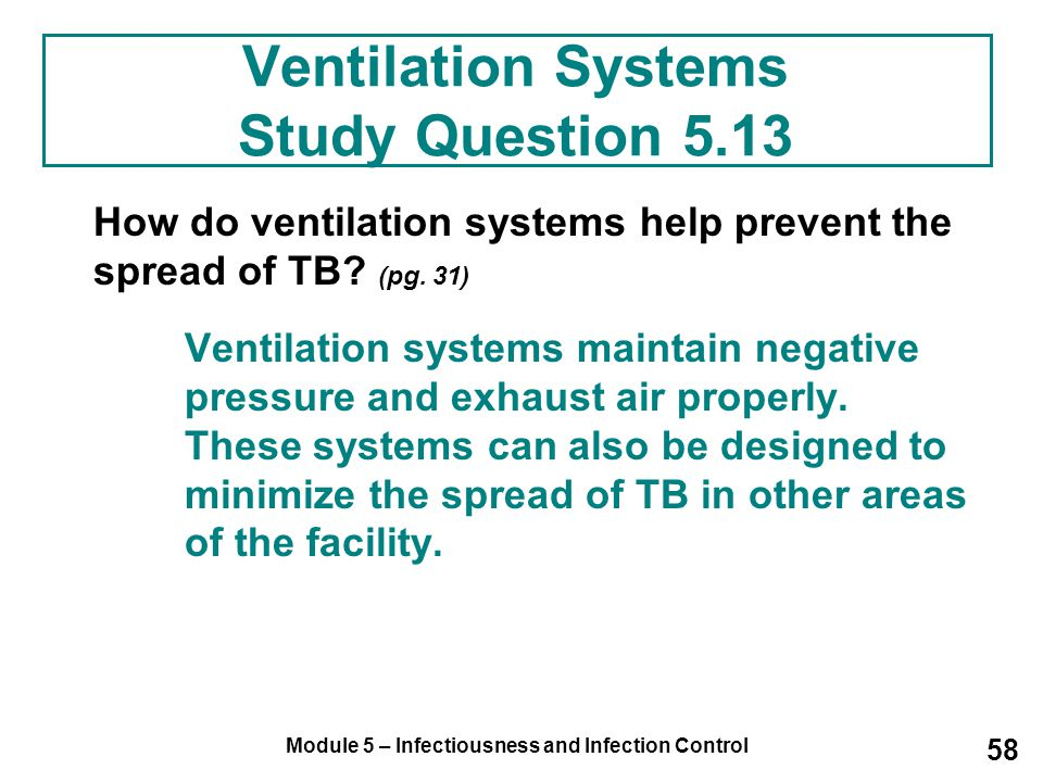 Ventilation Systems Study Question 5.13