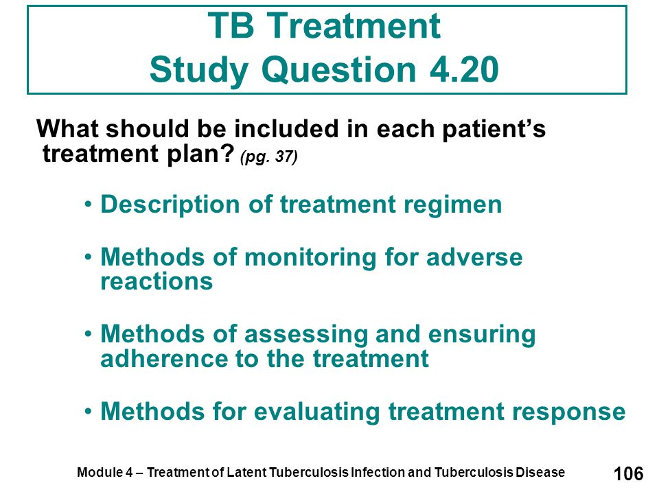 TB Treatment Study Question 4.20