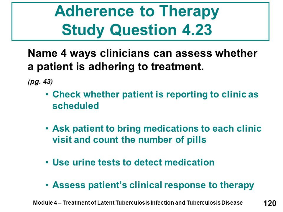 Adherence to Therapy Study Question 4.23