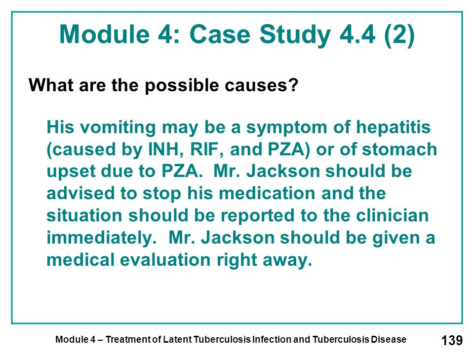 Module 4: Case Study 4.4 (2) What are the possible causes