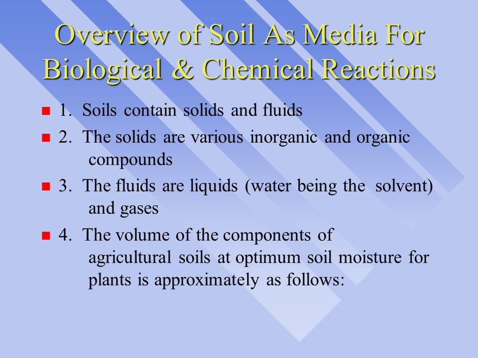 Overview of Soil As Media For Biological & Chemical Reactions