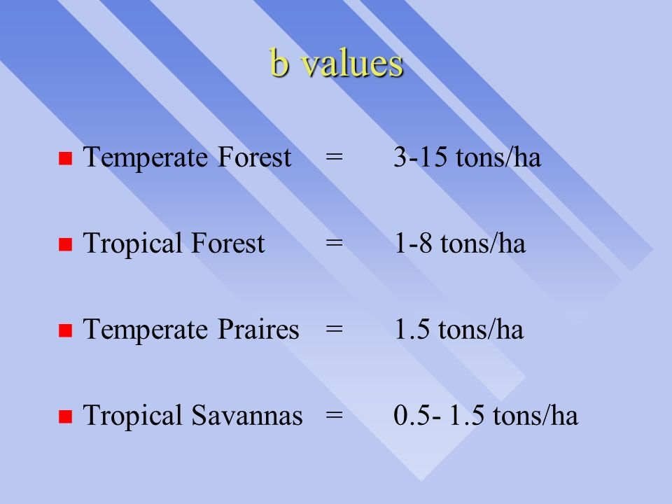 b values Temperate Forest = 3-15 tons/ha Tropical Forest = 1-8 tons/ha