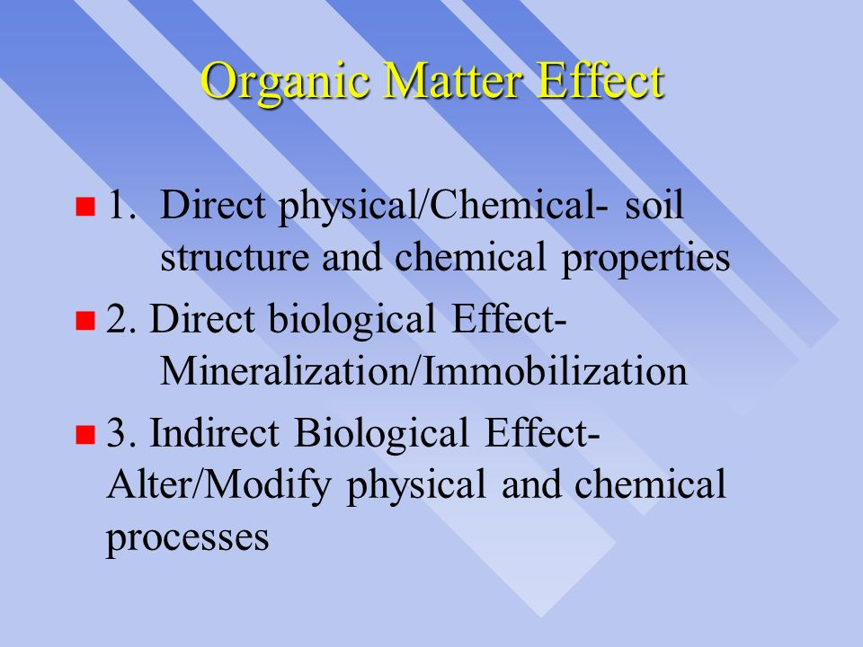 Organic Matter Effect 1. Direct physical/Chemical- soil structure and chemical properties.