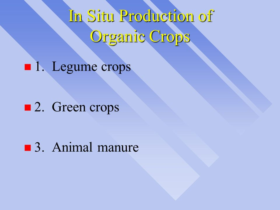 In Situ Production of Organic Crops