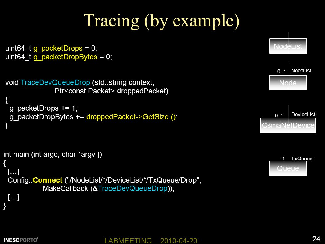 Tracing (by example) NodeList uint64_t g_packetDrops = 0;