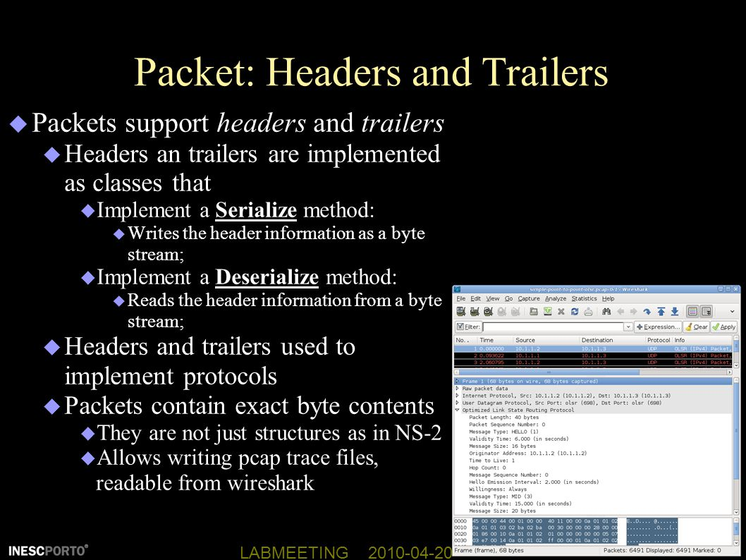 Packet: Headers and Trailers