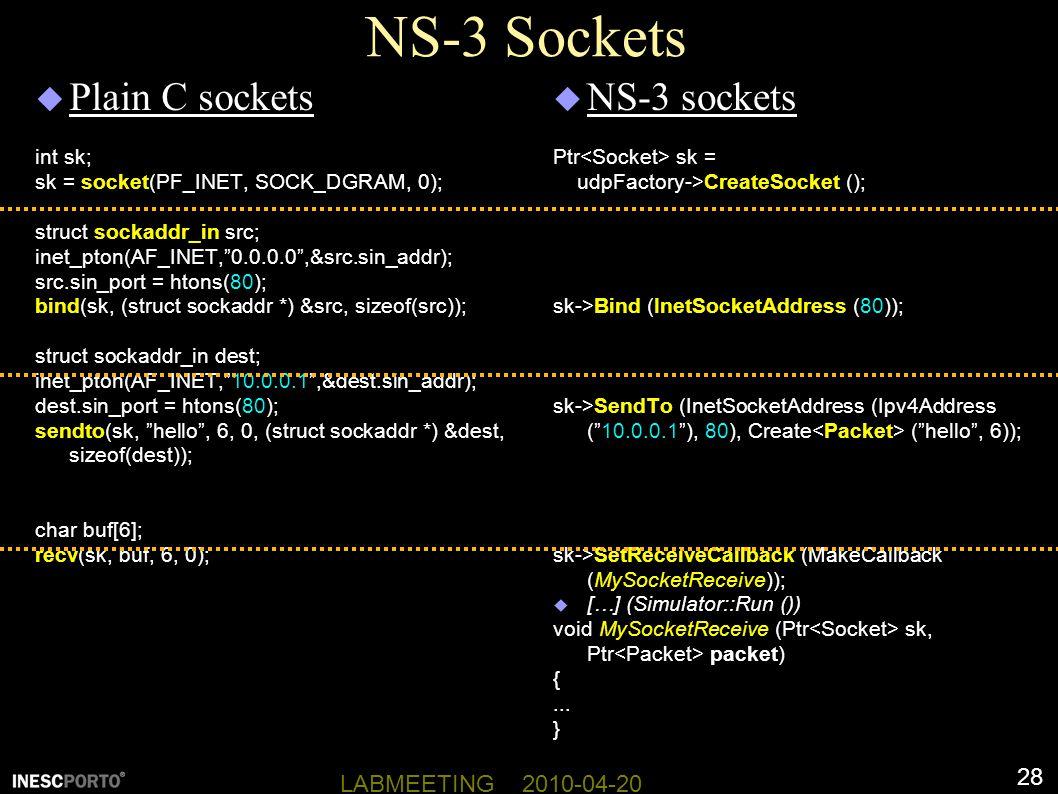 NS-3 Sockets Plain C sockets NS-3 sockets int sk;