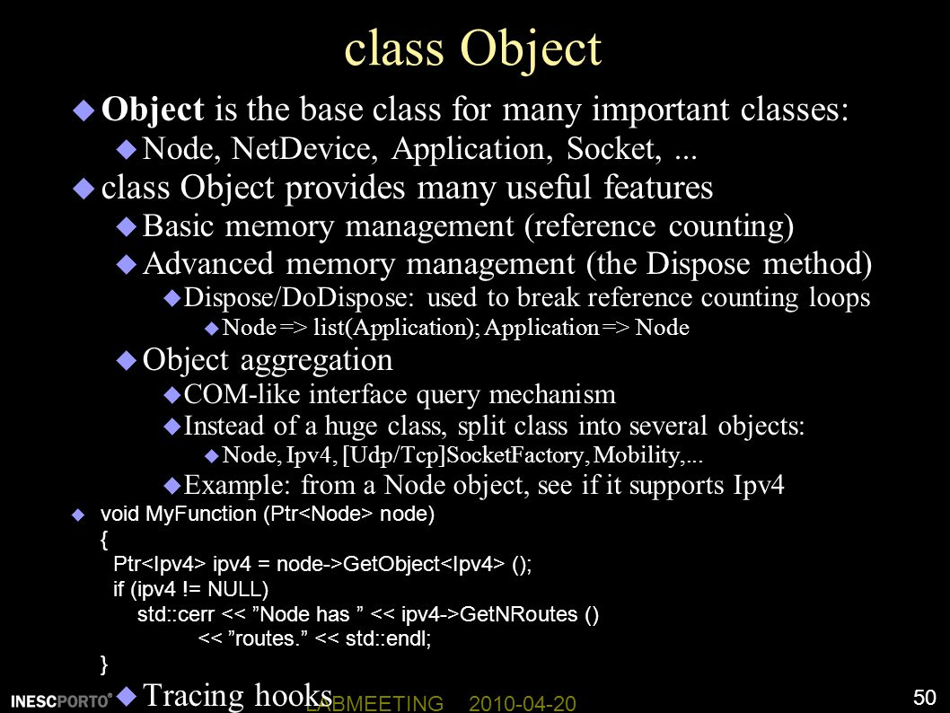 class Object Object is the base class for many important classes: