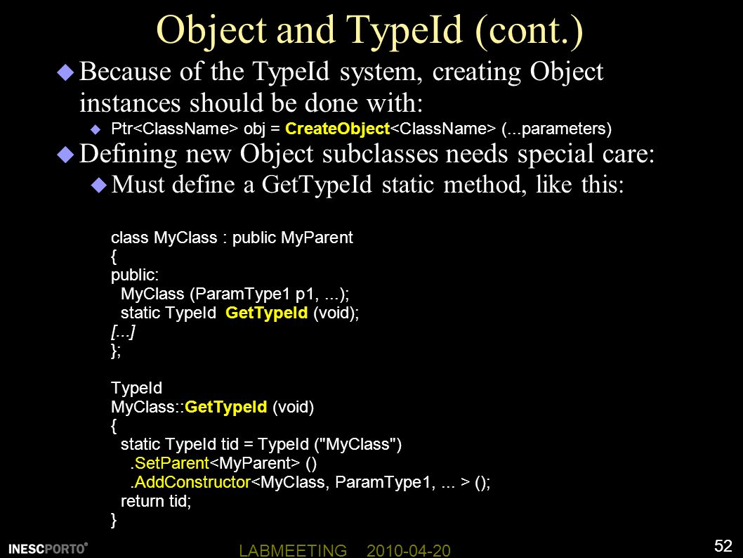 Object and TypeId (cont.)