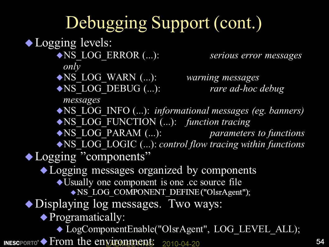 Debugging Support (cont.)