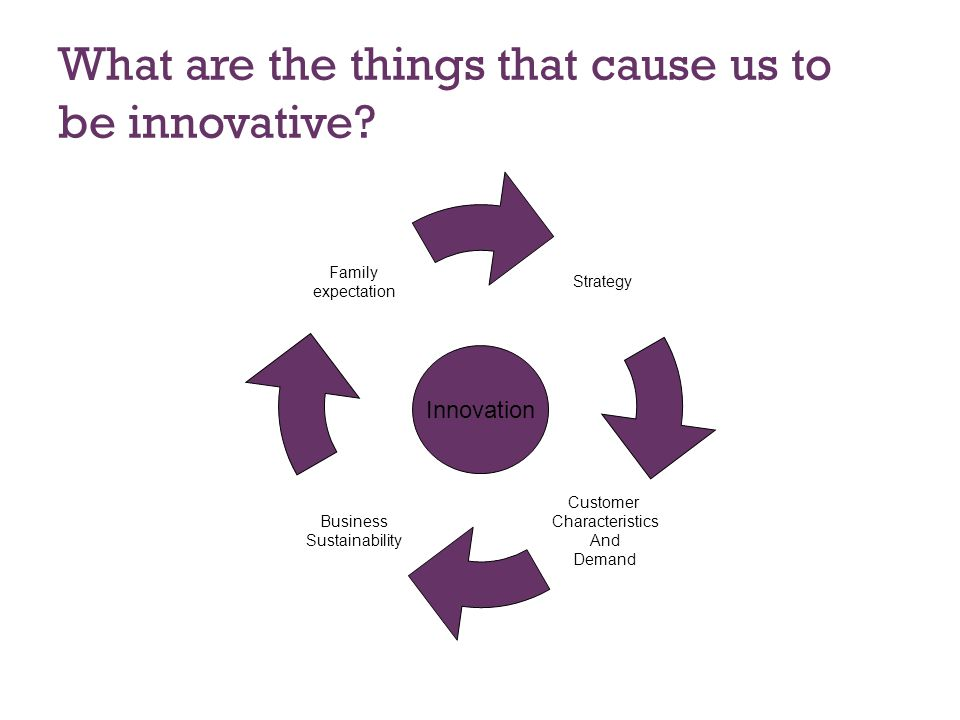 What are the things that cause us to be innovative