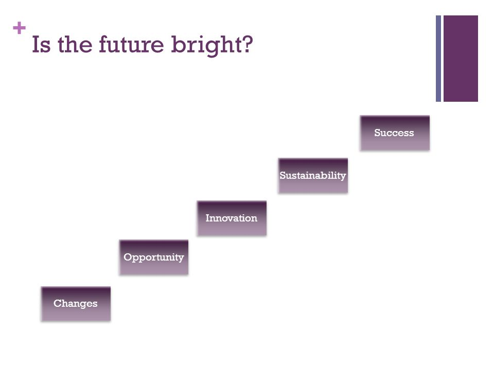 Is the future bright Changes Opportunity Innovation Sustainability