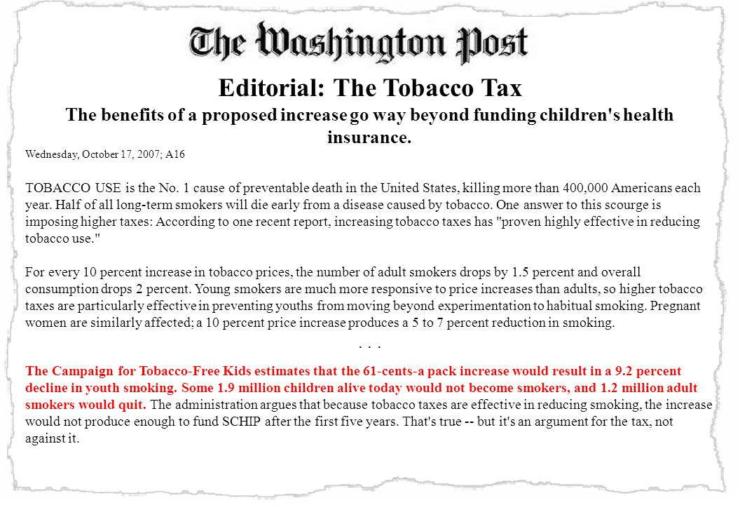Editorial: The Tobacco Tax The benefits of a proposed increase go way beyond funding children s health insurance.