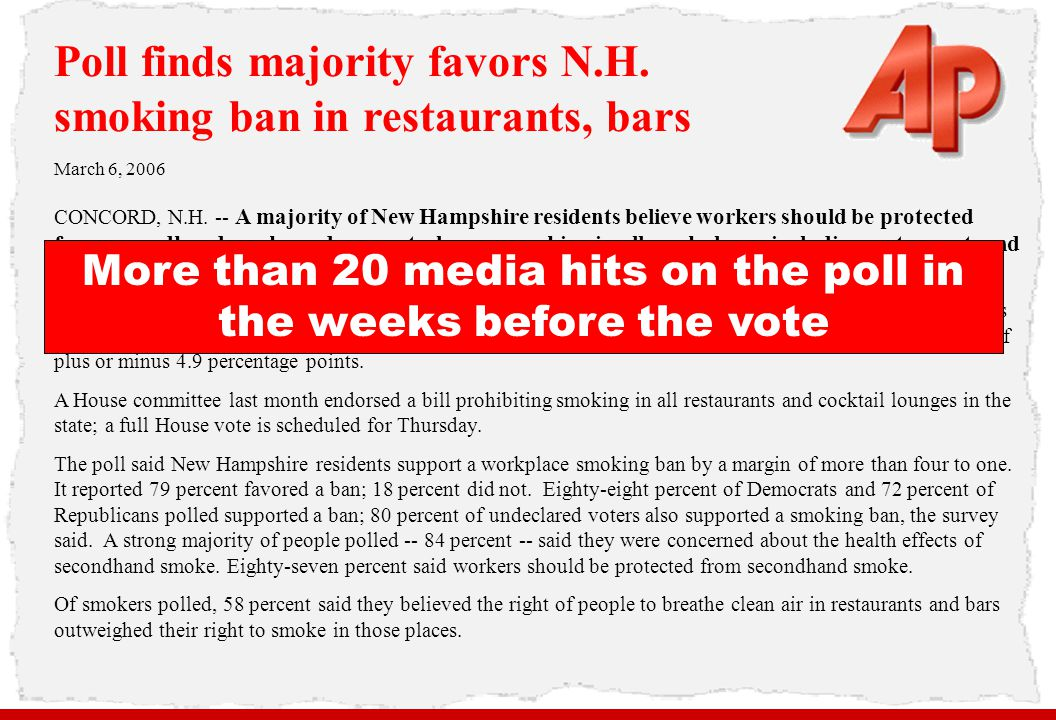 More than 20 media hits on the poll in the weeks before the vote