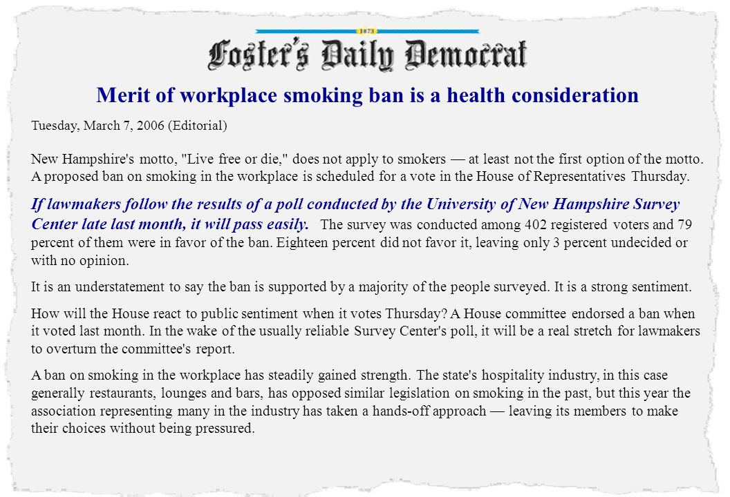 Merit of workplace smoking ban is a health consideration