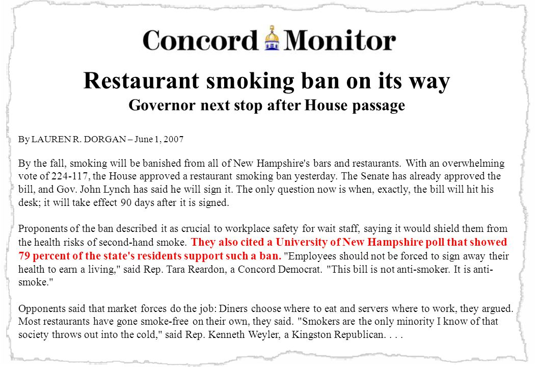 Restaurant smoking ban on its way