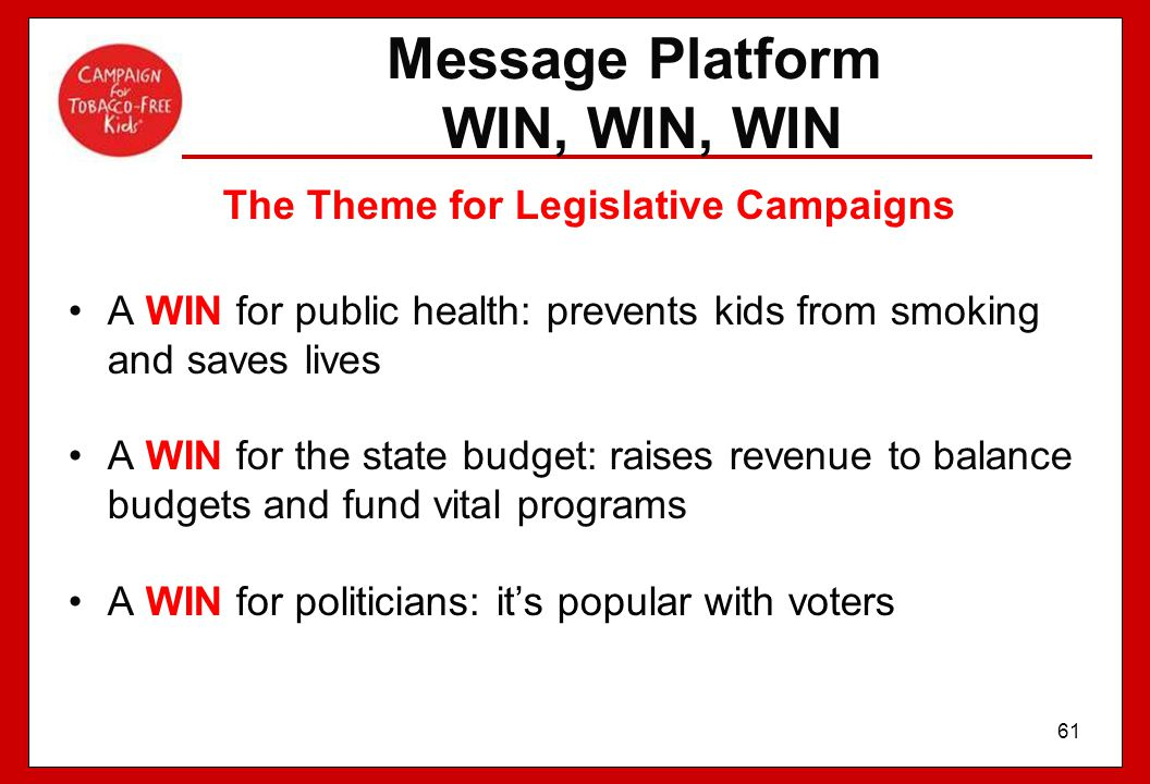 Message Platform WIN, WIN, WIN