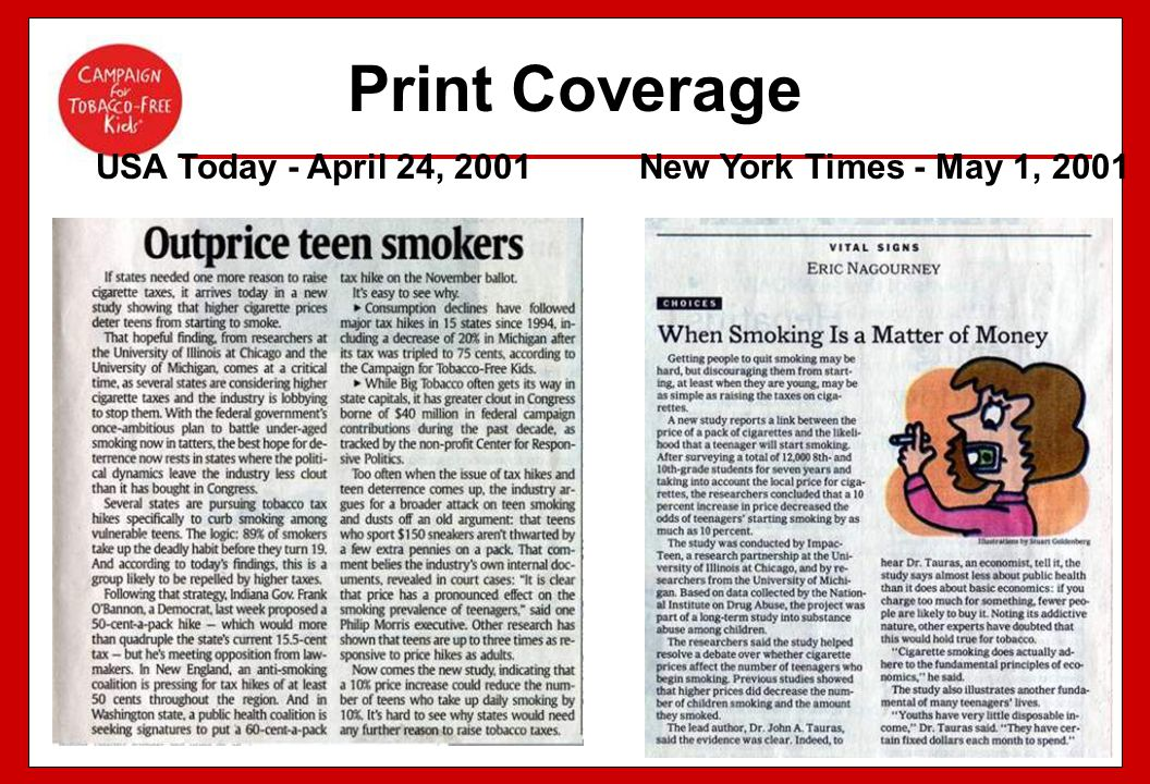 Print Coverage USA Today - April 24, 2001 New York Times - May 1, 2001