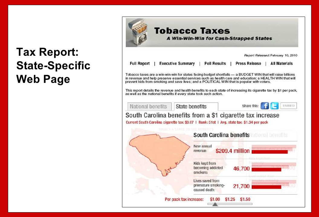 Tax Report: State-Specific Web Page