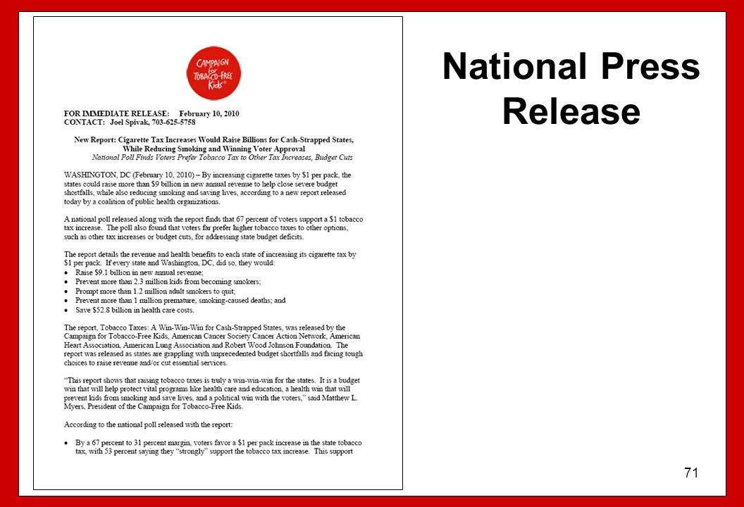 National Press Release