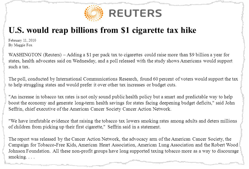 U.S. would reap billions from $1 cigarette tax hike