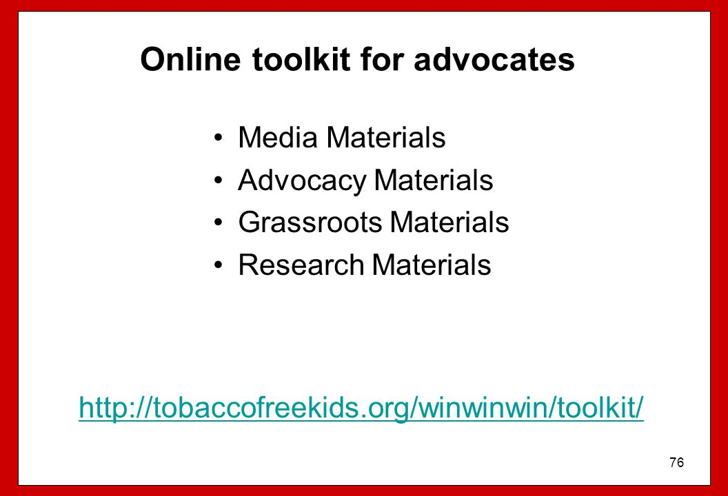 Online toolkit for advocates