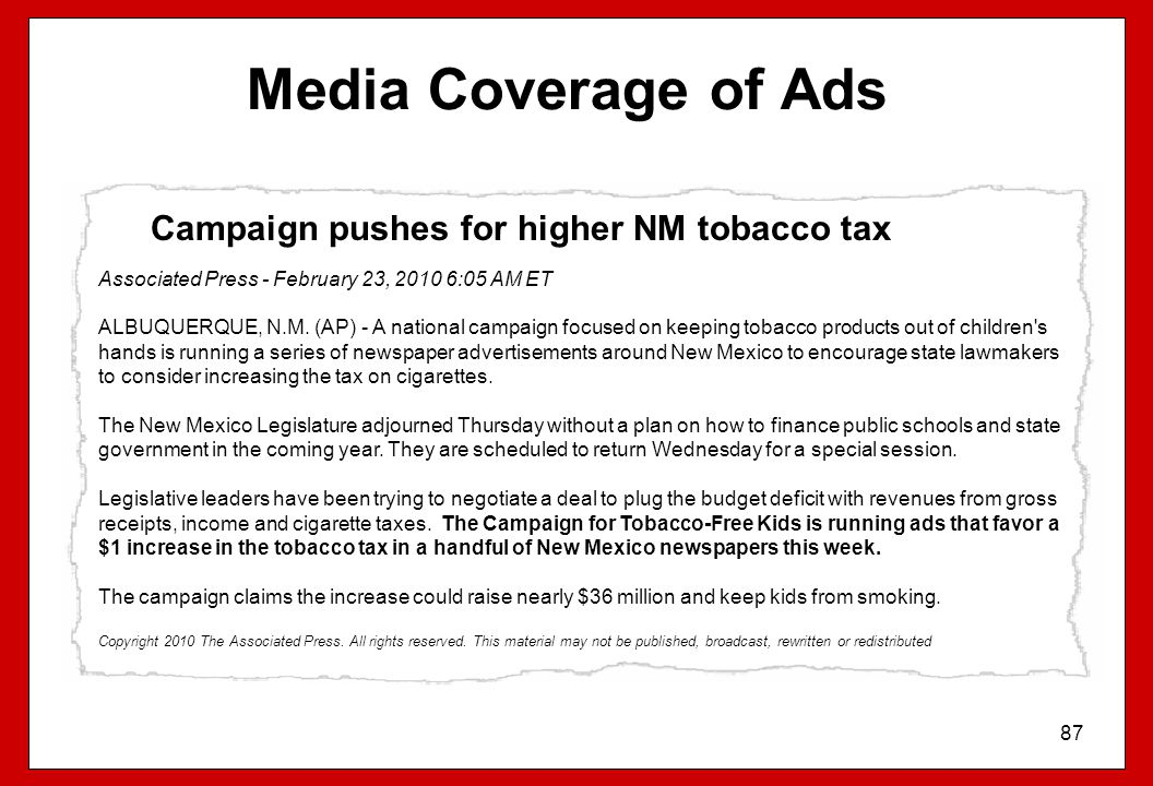 Media Coverage of Ads Campaign pushes for higher NM tobacco tax