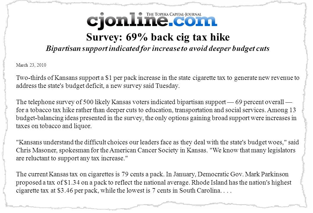 Survey: 69% back cig tax hike