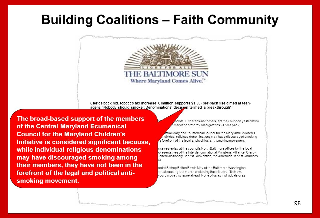 Building Coalitions – Faith Community