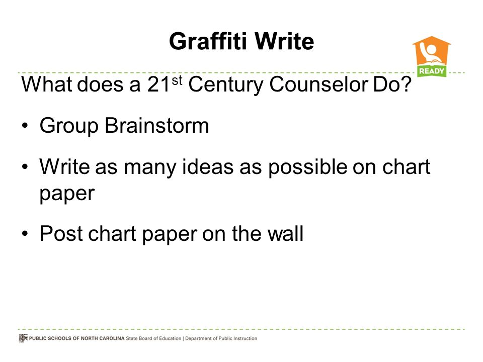 Graffiti Write What does a 21st Century Counselor Do Group Brainstorm