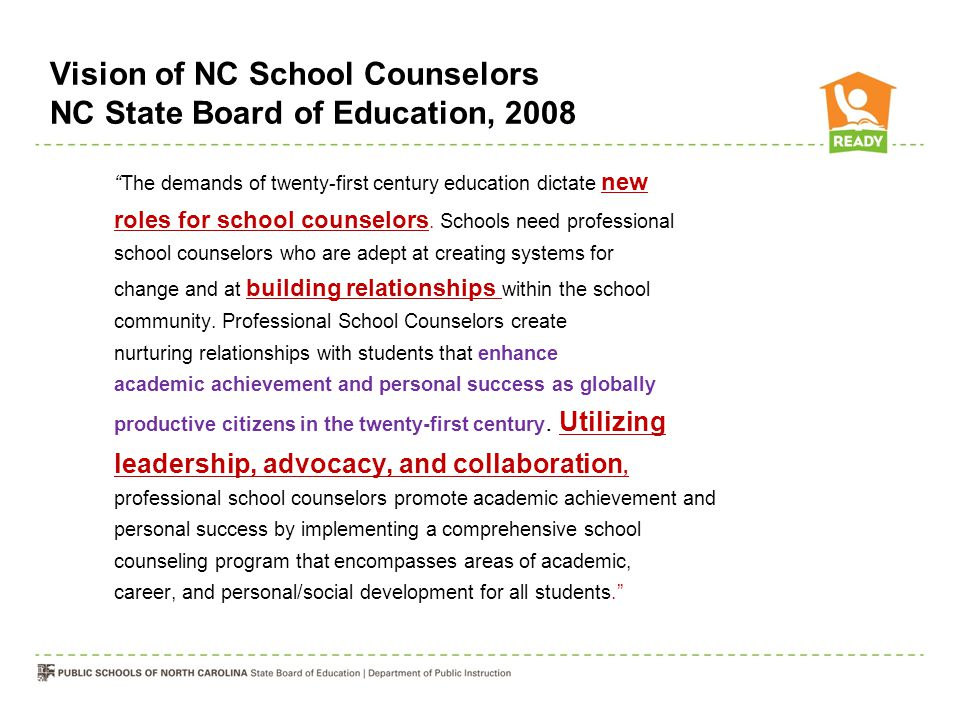 Vision of NC School Counselors NC State Board of Education, 2008