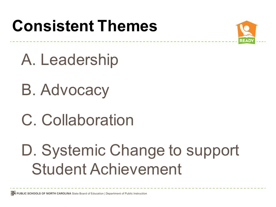 D. Systemic Change to support Student Achievement