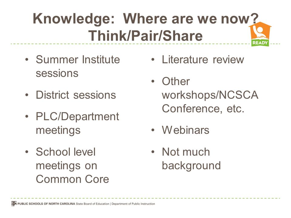 Knowledge: Where are we now Think/Pair/Share