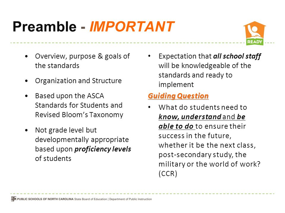 Preamble - IMPORTANT Overview, purpose & goals of the standards