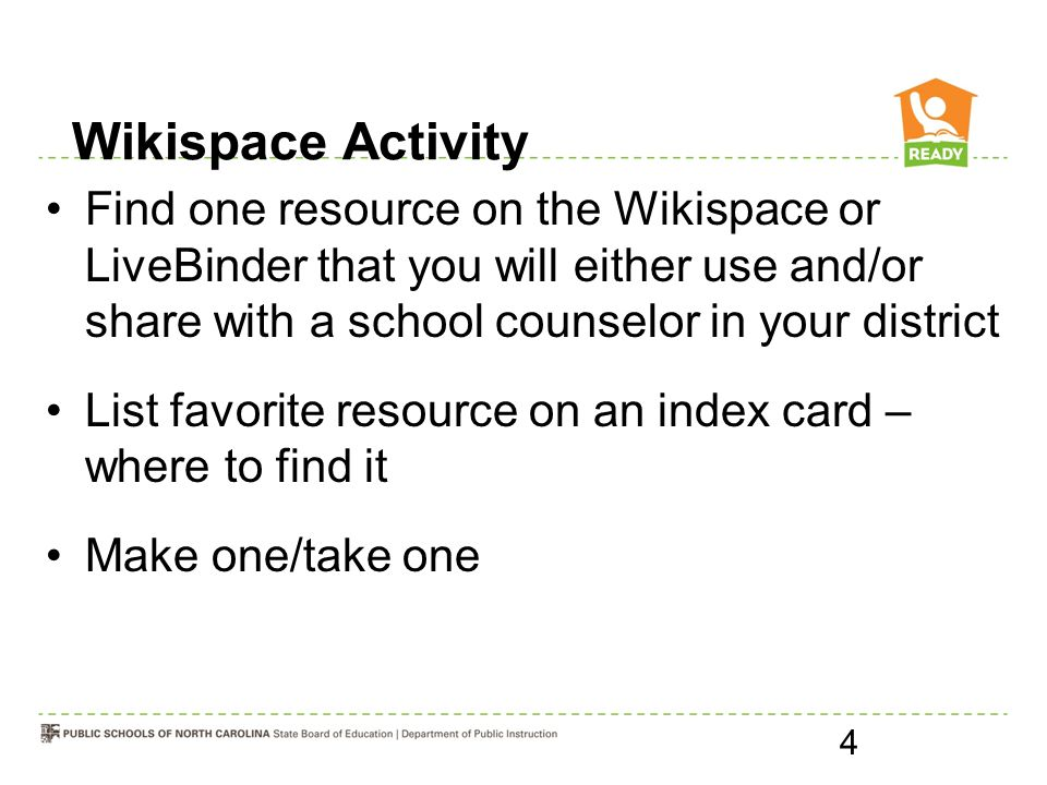Wikispace Activity Find one resource on the Wikispace or LiveBinder that you will either use and/or share with a school counselor in your district.