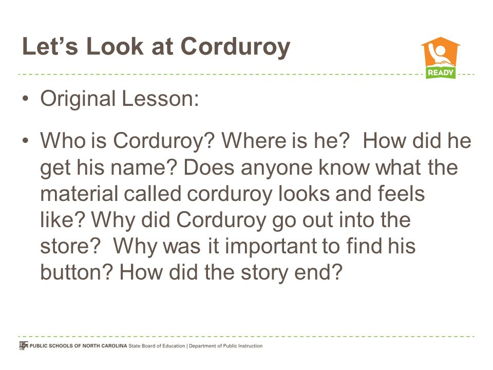 Let's Look at Corduroy Original Lesson: