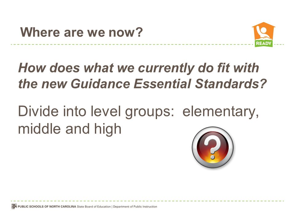 Divide into level groups: elementary, middle and high