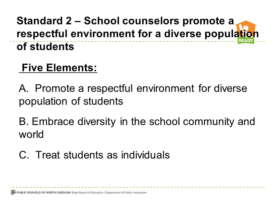 Standard 2 – School counselors promote a respectful environment for a diverse population of students