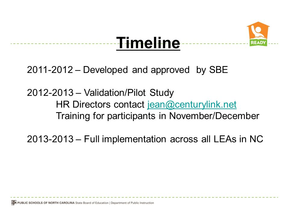 Timeline 2011-2012 – Developed and approved by SBE