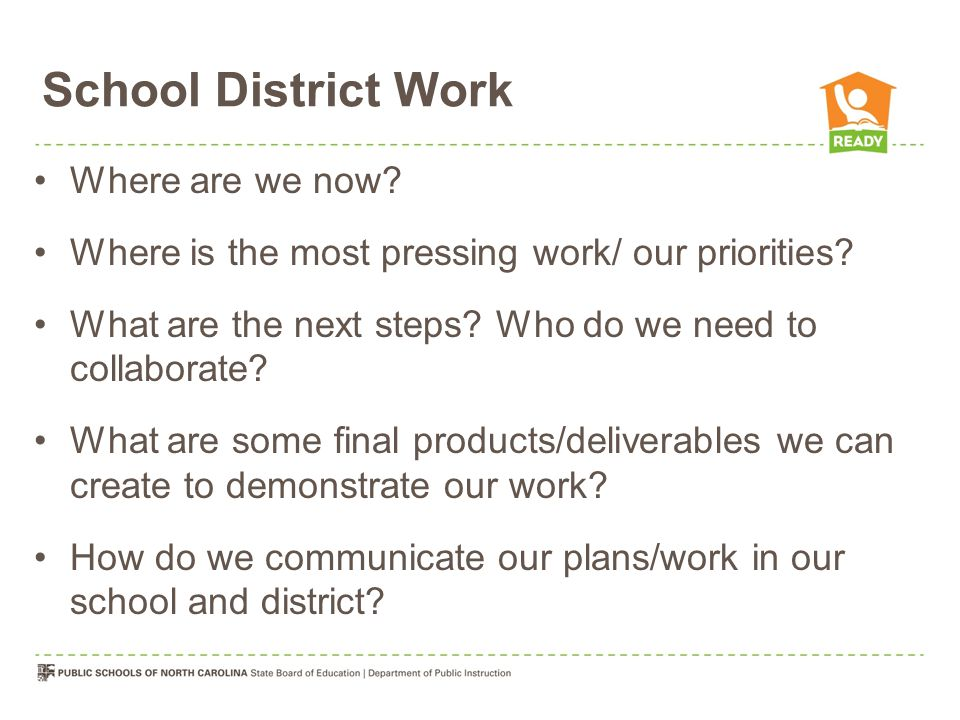 School District Work Where are we now
