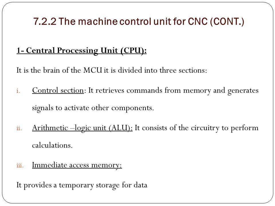 7.2.2 The machine control unit for CNC (CONT.)