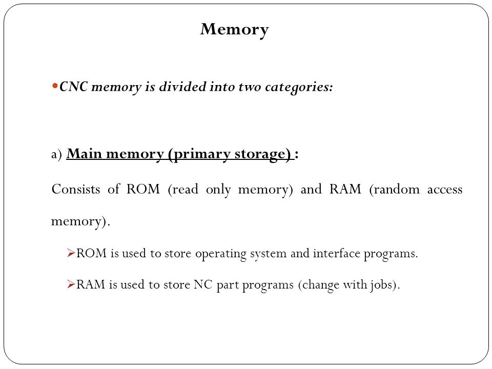 Memory CNC memory is divided into two categories: