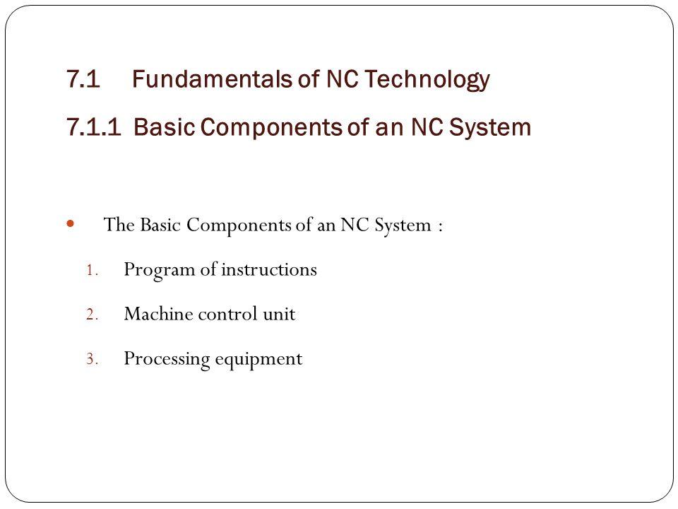7. 1 Fundamentals of NC Technology 7. 1