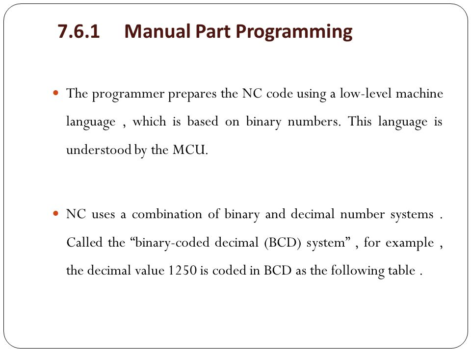7.6.1 Manual Part Programming