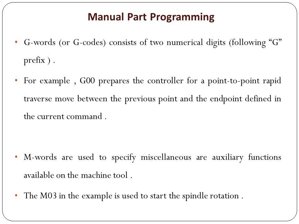 Manual Part Programming