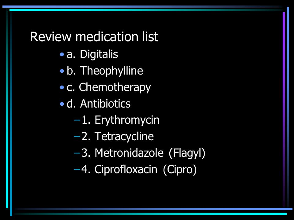 Review medication list