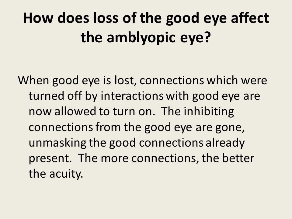 How does loss of the good eye affect the amblyopic eye